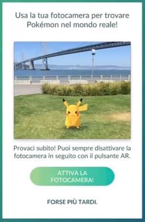 attivare fotocamera trovare pokemon